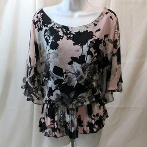 DB Womens Sz 18 XL Floral Peplum Blouse Pink Bk Gr